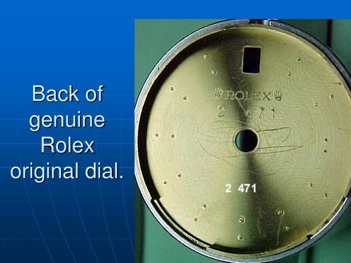 Back of genuine Rolex original dial.