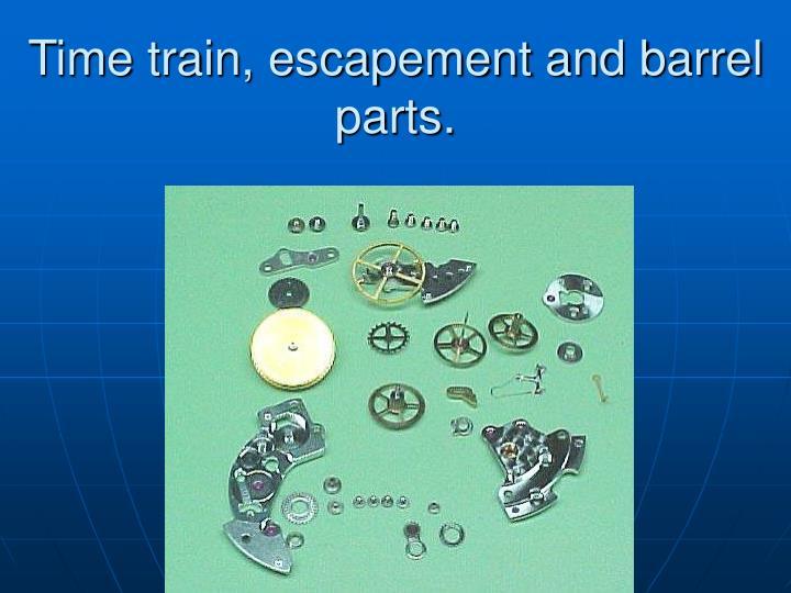Time train, escapement and barrel parts.