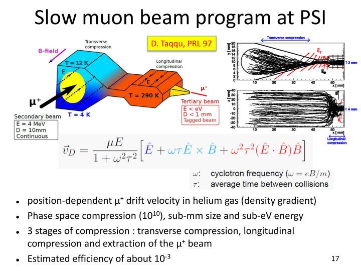Slow muon beam program at PSI