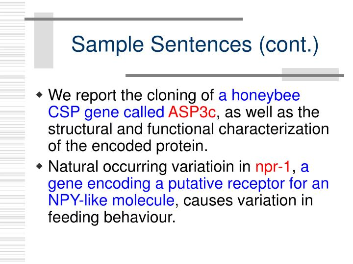 Sample Sentences (cont.)