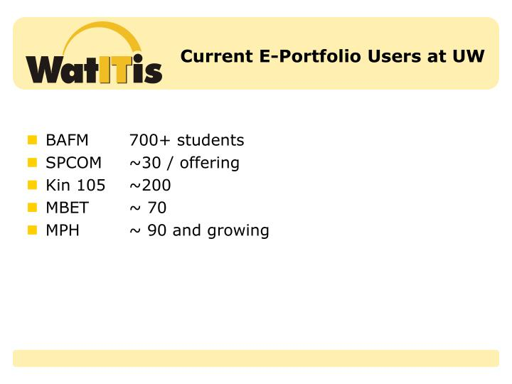 Current E-Portfolio Users at UW