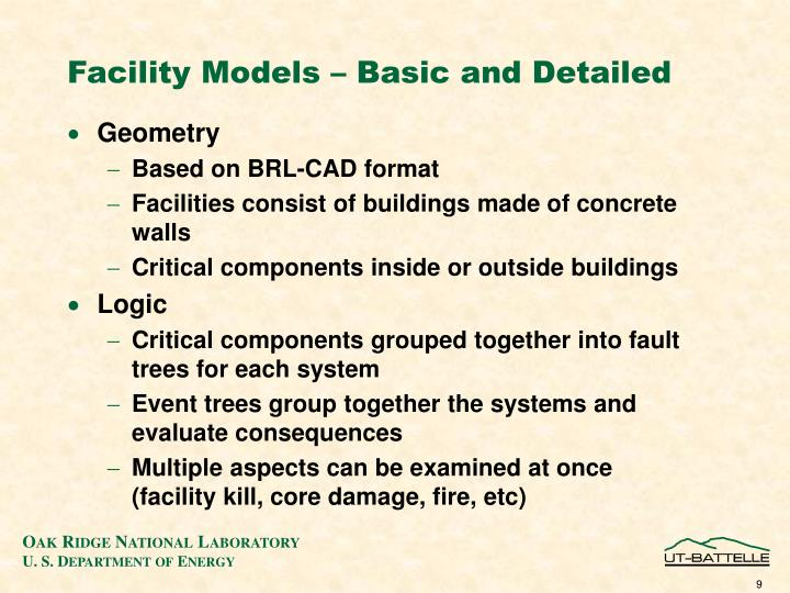Facility Models – Basic and Detailed