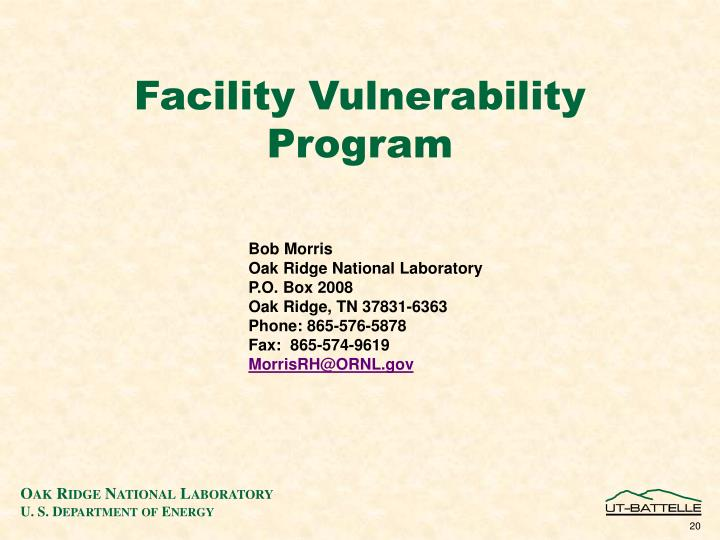 Facility Vulnerability   Program