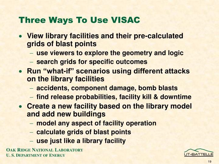 Three Ways To Use VISAC