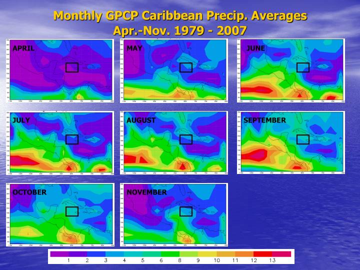 Monthly GPCP Caribbean Precip. Averages