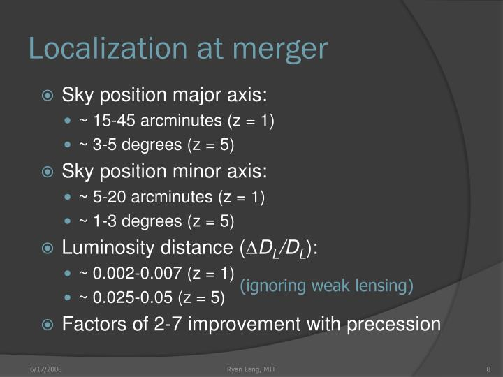 Localization at merger
