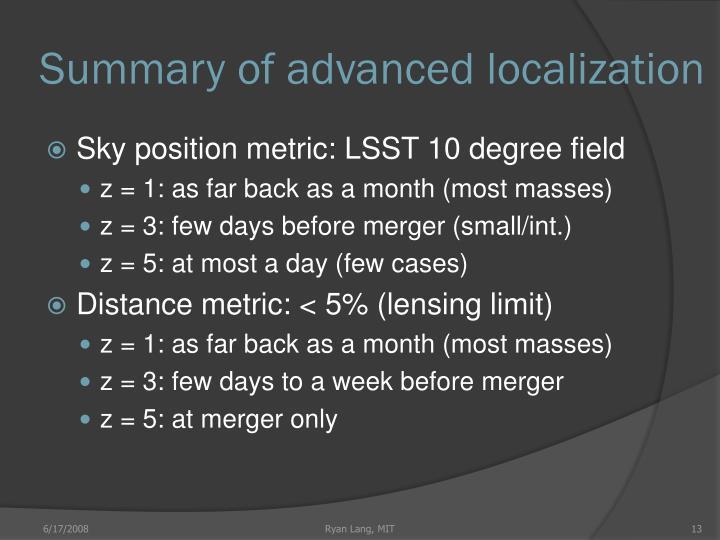 Summary of advanced localization