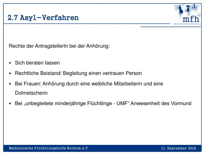 2.7 Asyl-Verfahren