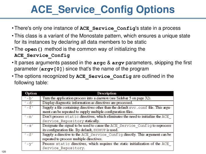 ACE_Service_Config Options