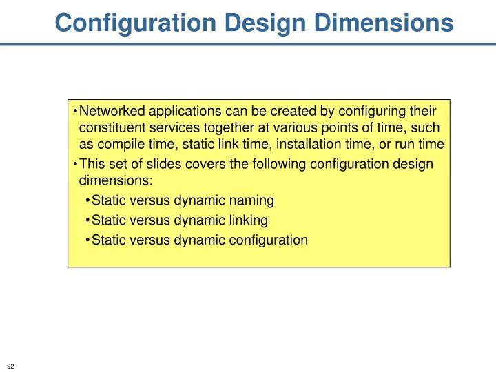 Configuration Design Dimensions