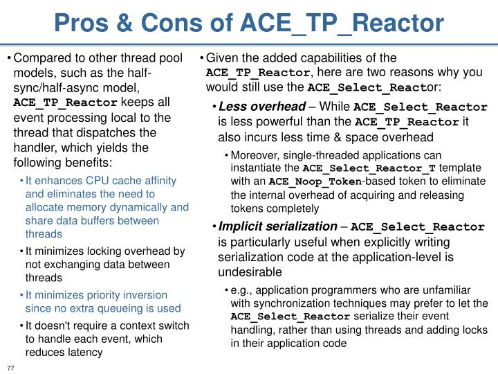 Pros & Cons of ACE_TP_Reactor