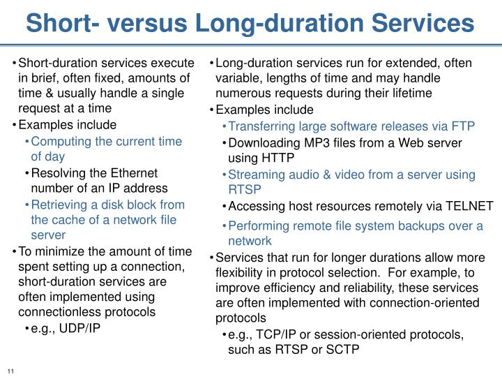 Short- versus Long-duration Services