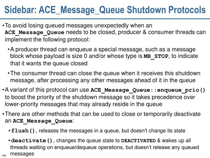 Sidebar: ACE_Message_Queue Shutdown Protocols