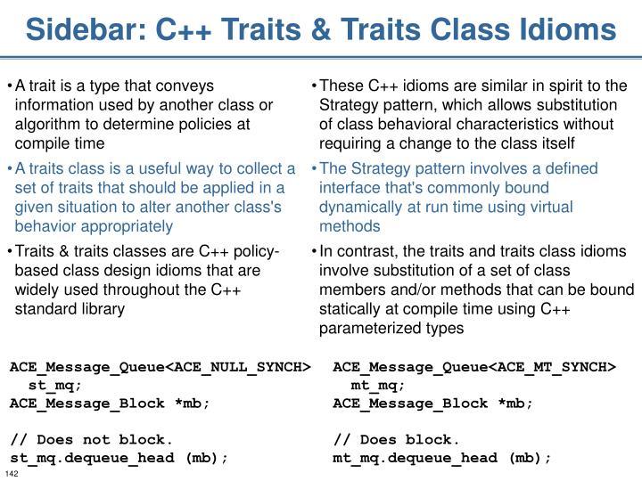 Sidebar: C++ Traits & Traits Class Idioms