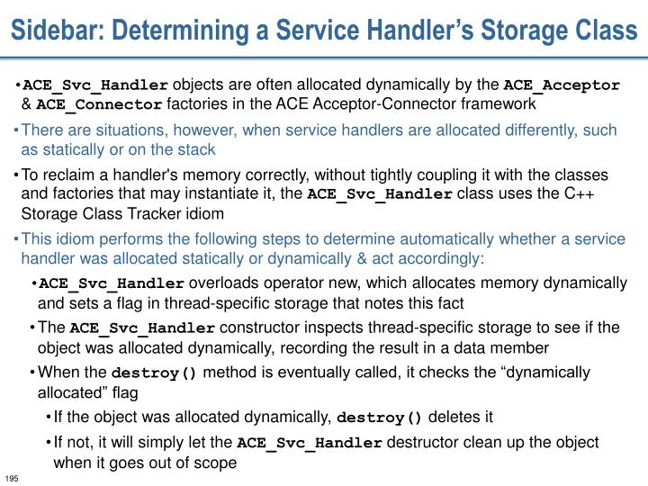 Sidebar: Determining a Service Handler's Storage Class