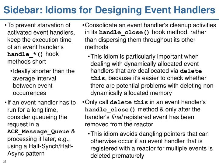 Sidebar: Idioms for Designing Event Handlers