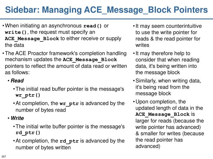 Sidebar: Managing ACE_Message_Block Pointers