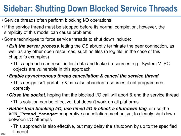 Sidebar: Shutting Down Blocked Service Threads