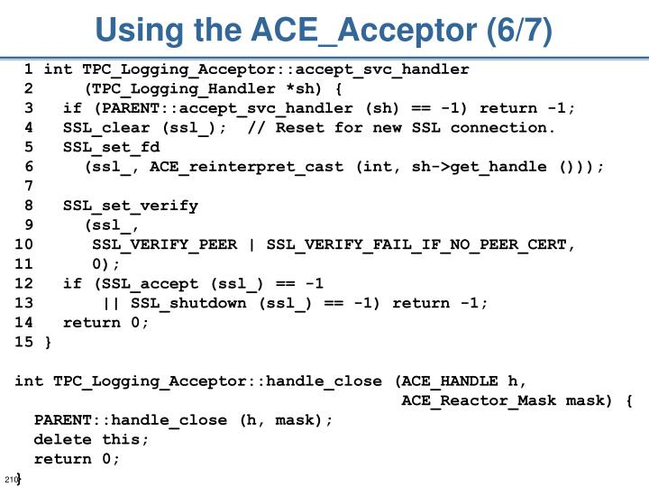 Using the ACE_Acceptor (6/7)