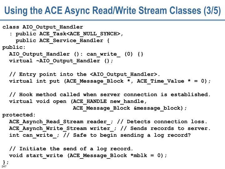Using the ACE Async Read/Write Stream Classes (3/5)