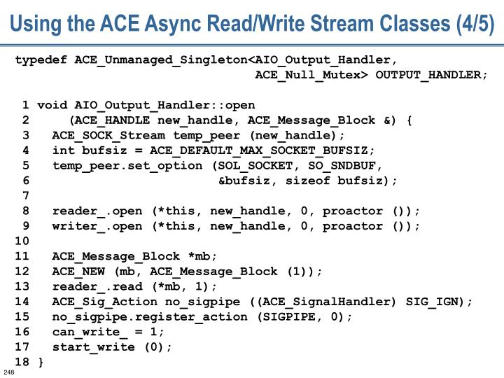 Using the ACE Async Read/Write Stream Classes (4/5)