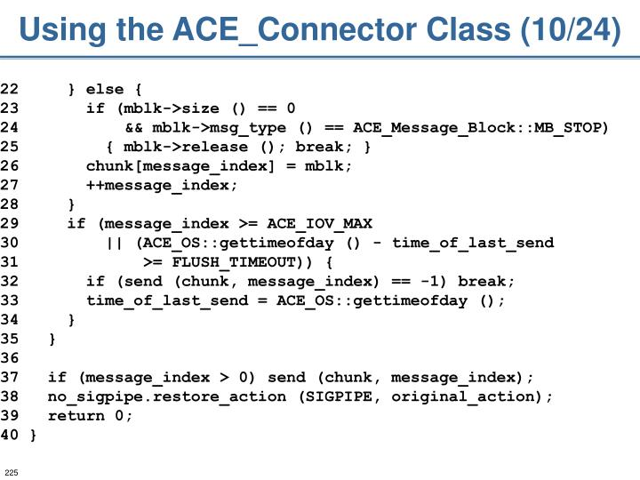 Using the ACE_Connector Class (10/24)