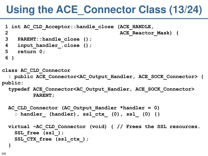 Using the ACE_Connector Class (13/24)