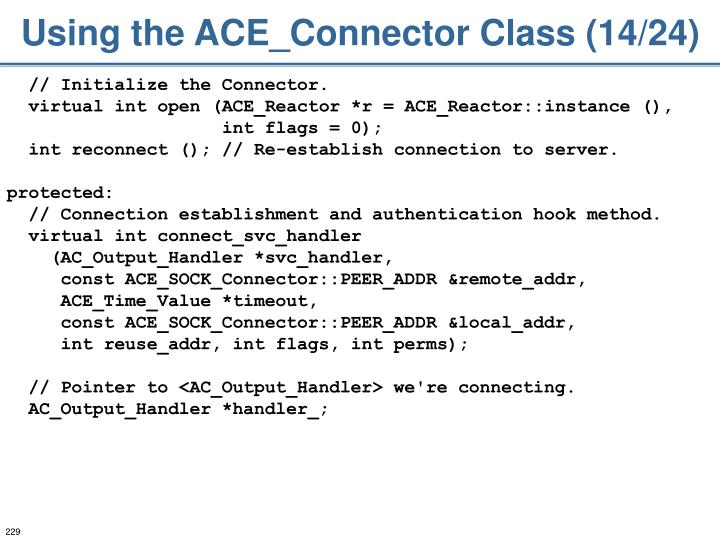 Using the ACE_Connector Class (14/24)