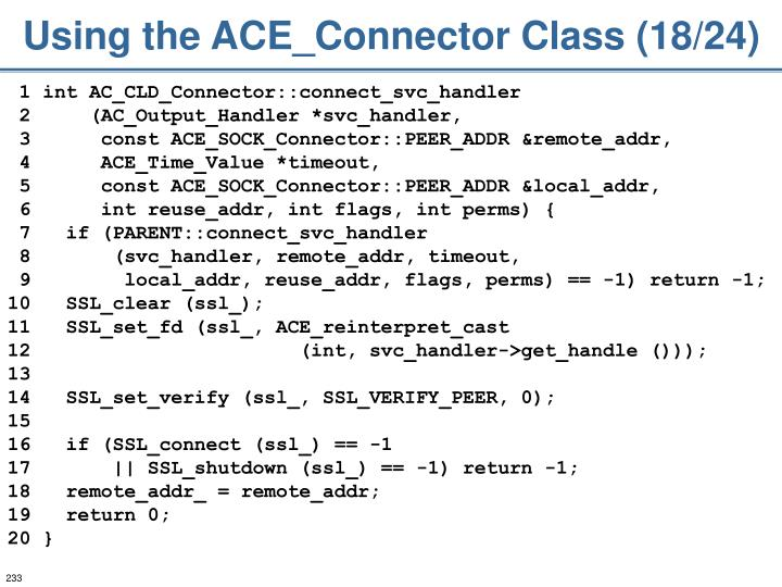 Using the ACE_Connector Class (18/24)