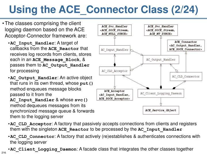 Using the ACE_Connector Class (2/24)