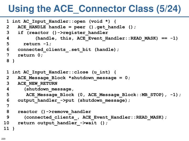 Using the ACE_Connector Class (5/24)