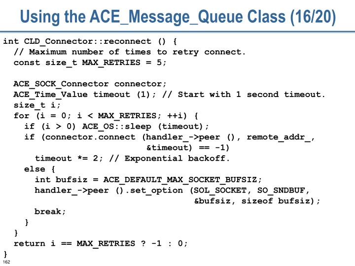 Using the ACE_Message_Queue Class (16/20)