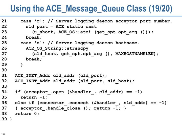 Using the ACE_Message_Queue Class (19/20)