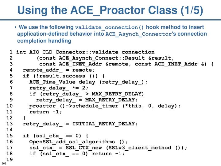 Using the ACE_Proactor Class (1/5)