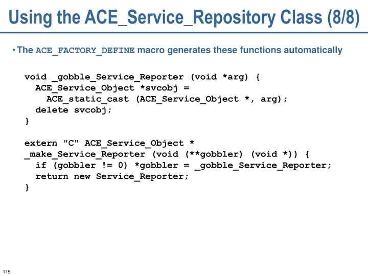 Using the ACE_Service_Repository Class (8/8)