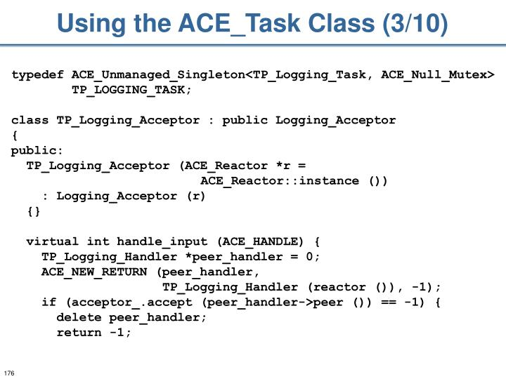 Using the ACE_Task Class (3/10)