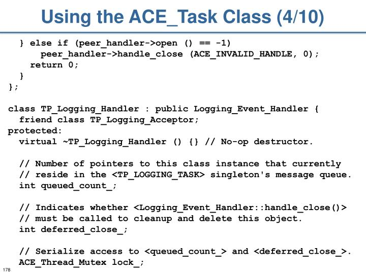 Using the ACE_Task Class (4/10)