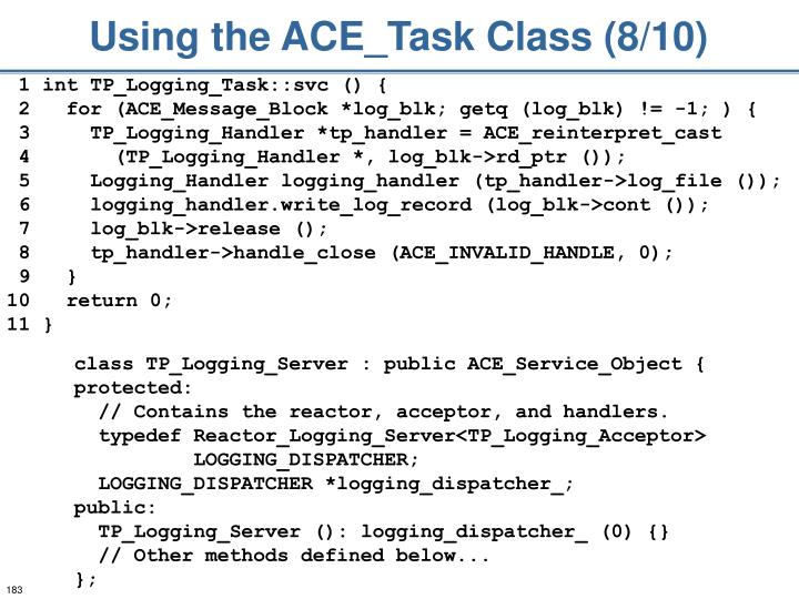 Using the ACE_Task Class (8/10)