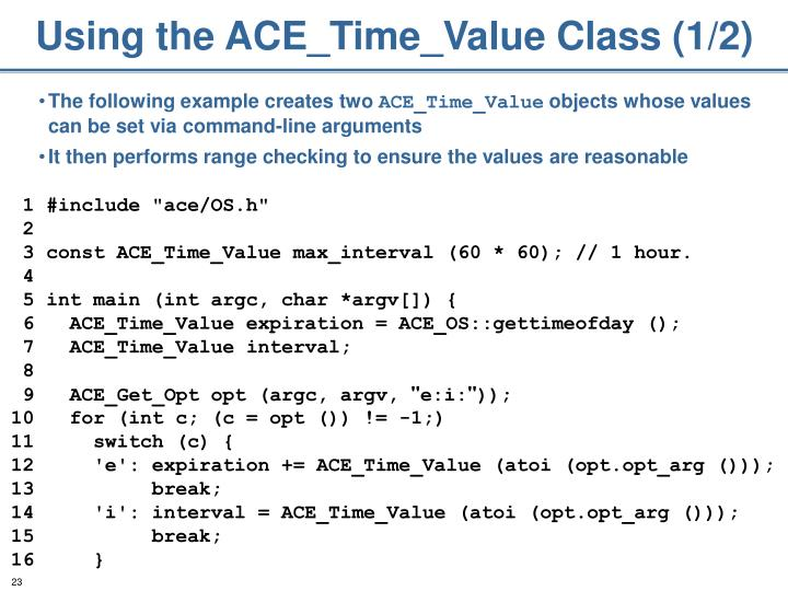 Using the ACE_Time_Value Class (1/2)