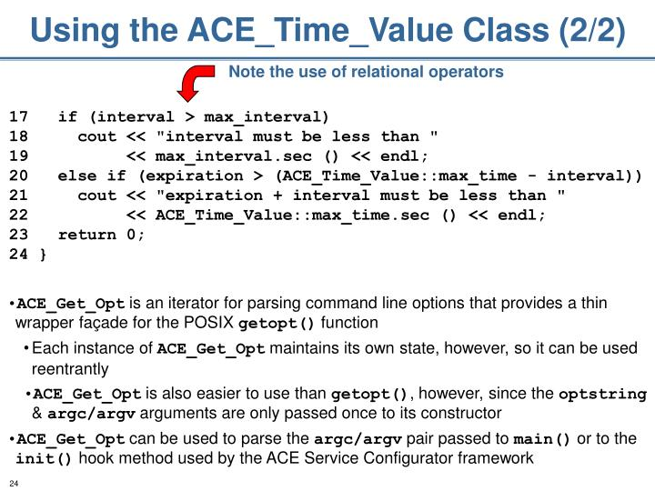 Using the ACE_Time_Value Class (2/2)