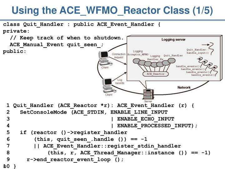 Using the ACE_WFMO_Reactor Class (1/5)