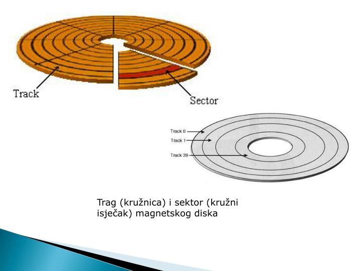 Trag (kružnica) i sektor (kružni isječak) magnetskog diska