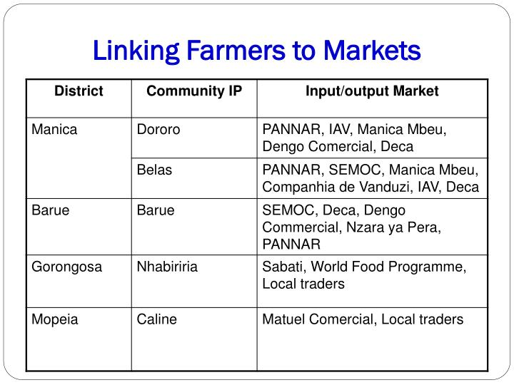 Linking Farmers to Markets