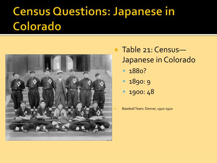 Census Questions: Japanese in Colorado