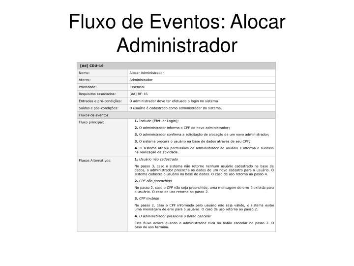 Fluxo de Eventos: Alocar Administrador