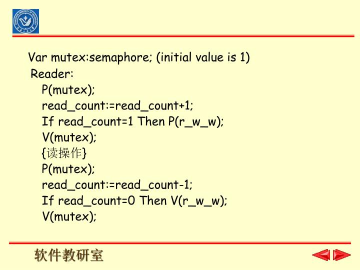 Var mutex:semaphore; (initial value is 1)