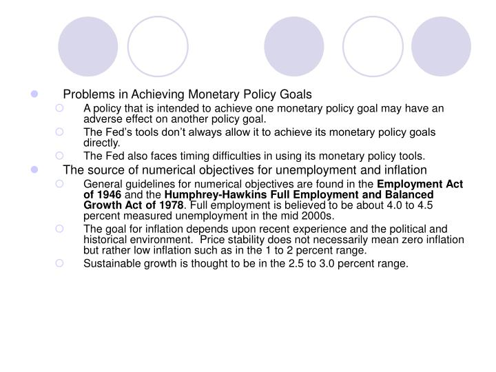 Problems in Achieving Monetary Policy Goals
