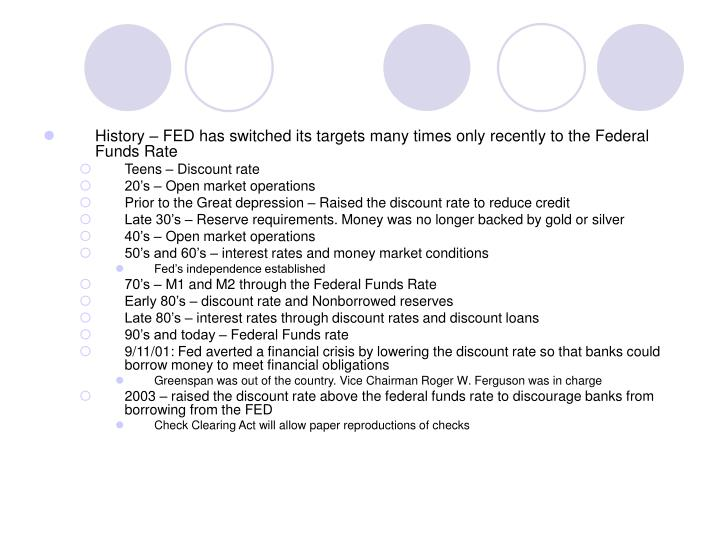 History – FED has switched its targets many times only recently to the Federal Funds Rate