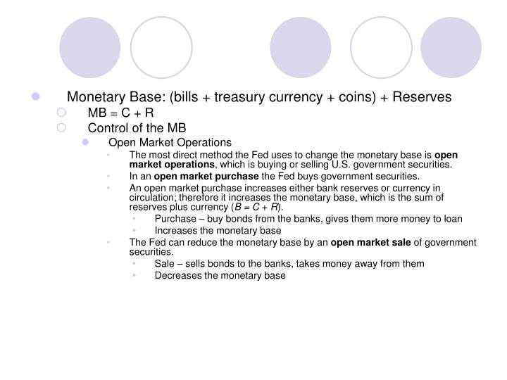 Monetary Base: (bills + treasury currency + coins) + Reserves