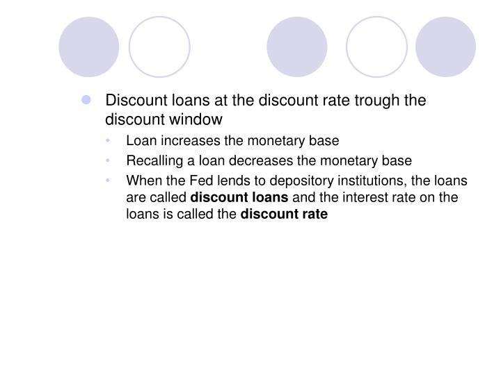 Discount loans at the discount rate trough the discount window